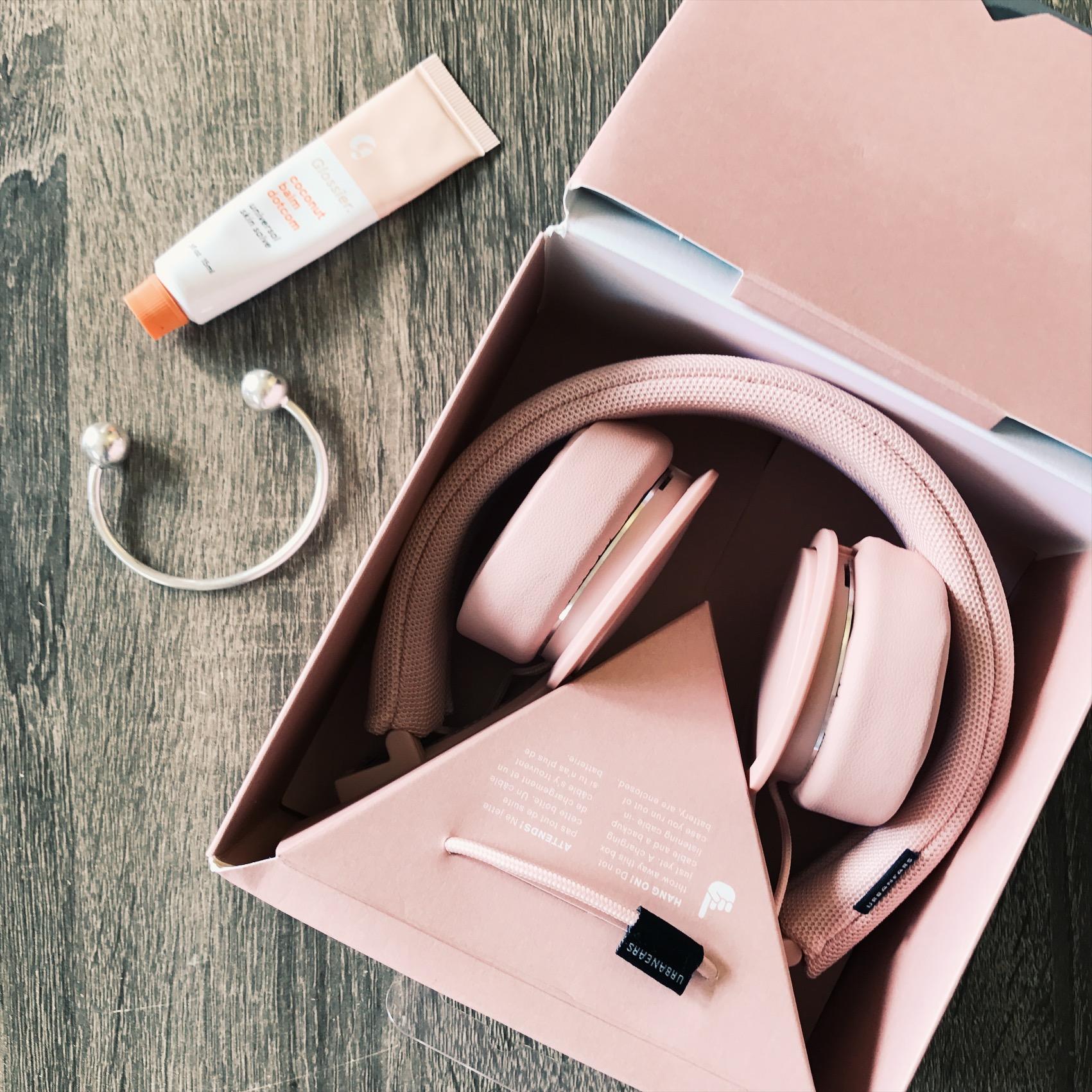 Glossier Coconut Balm Dotcom ,  Madewell cuff ,  Urbanears headphones