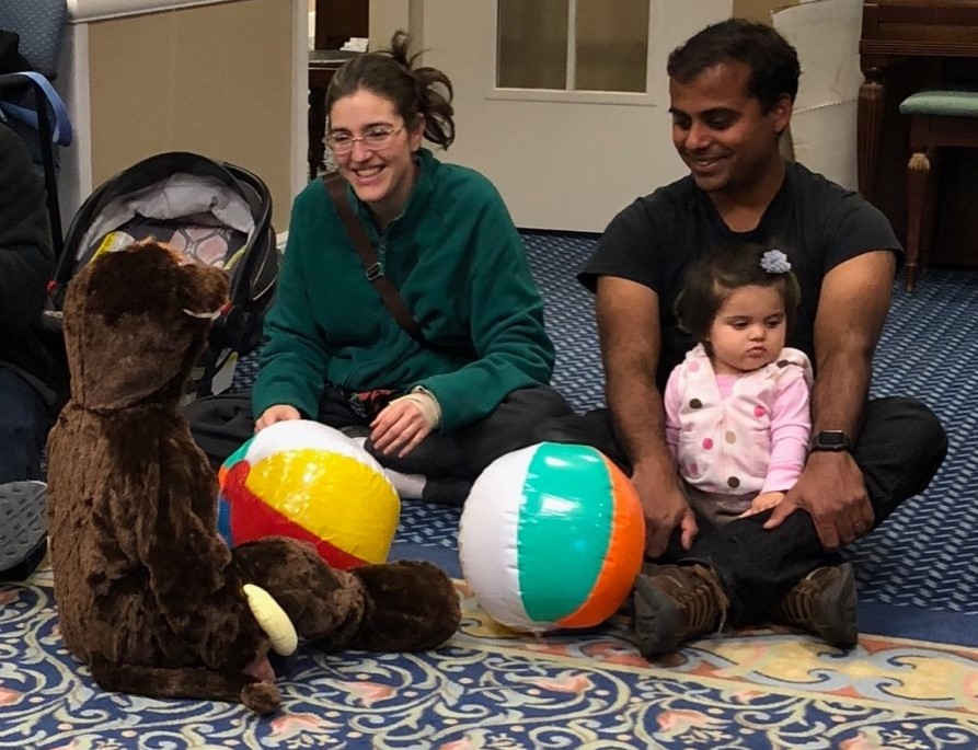 kiran (monkey) enjoys the ball with mom & dad