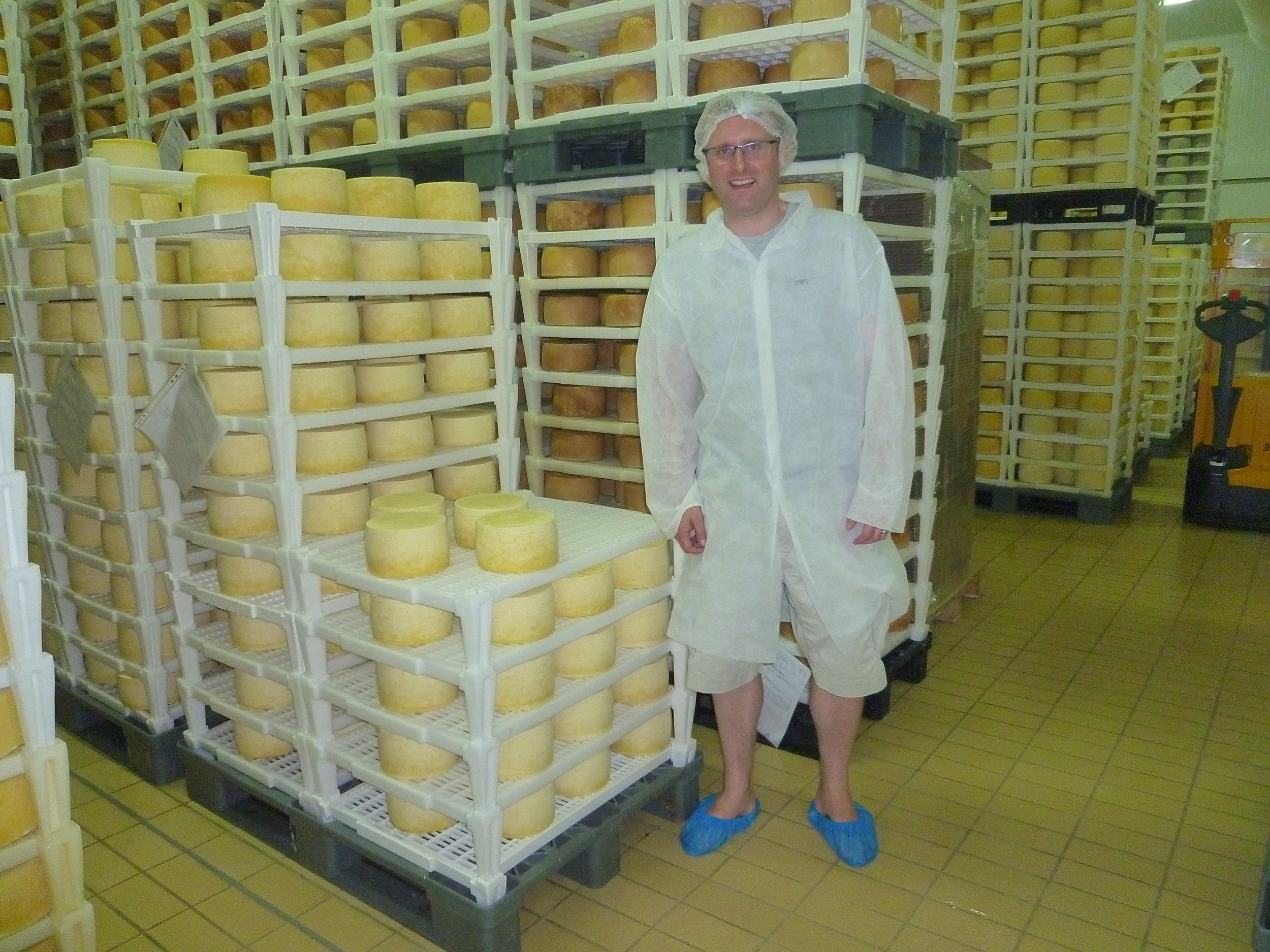 Ridiculous attire mandatory during the Pag Island cheese factory tour