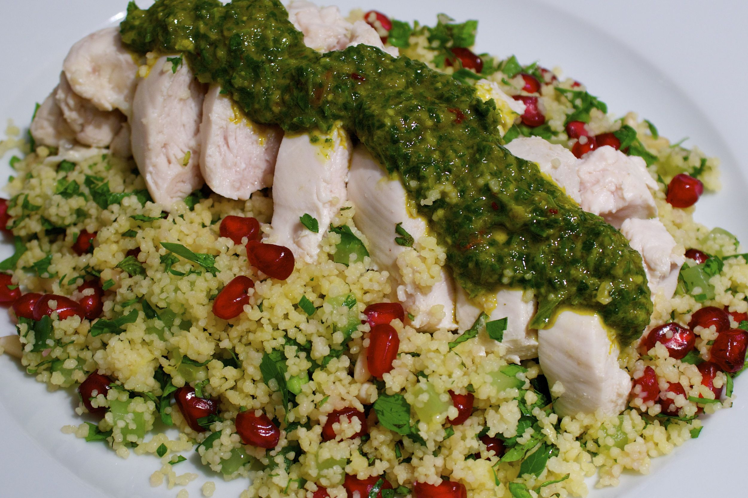 poached chicken, chermoula and jewelled couscous