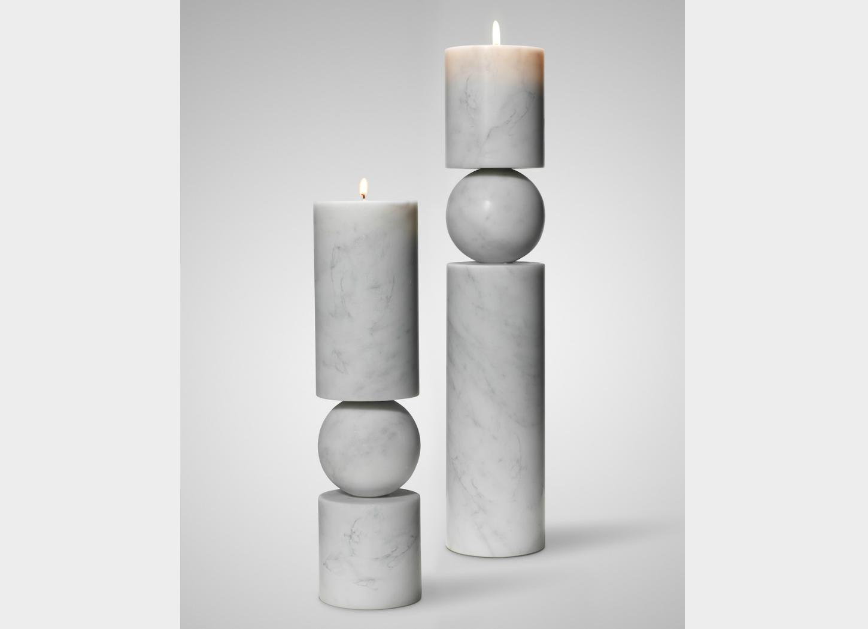Fulcrum Marble Candlesticks by Lee Broom, image courtesy Lee Broom