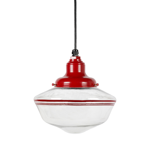 The Scholar Cord Hung Pendant in Red Stripe, Courtesy Barn Light Electric