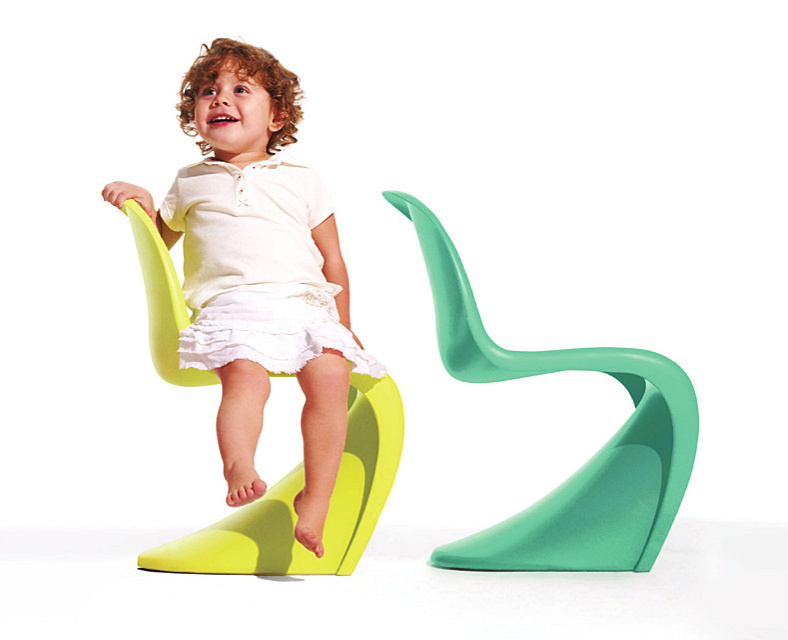 """Panton Junior Chair in Limited Edition Colors """"Citron"""" and """"Aqua Turquoise"""", Courtesy Vitra"""