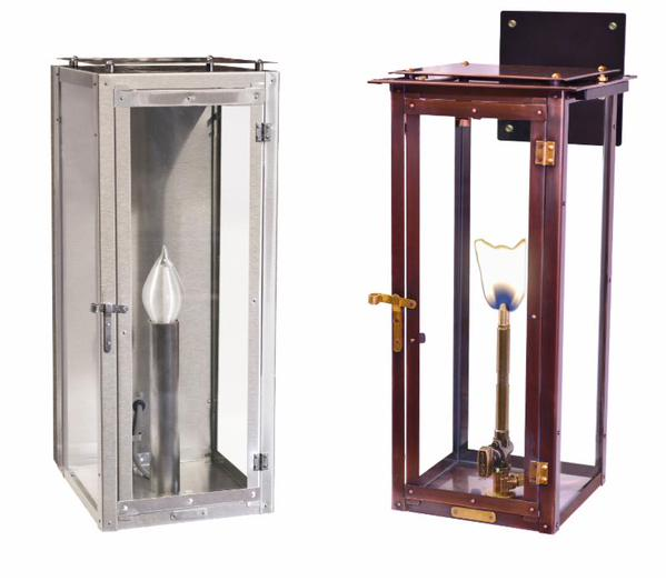 Modernist Flush Mount and Bracket Mount Gas Lanterns, Courtesy Bevolo