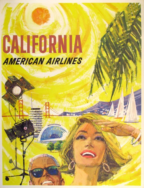 Circa 1965 American Airlines, California Poster by Boyles from Vintage European Posters; Courtesy Period Media