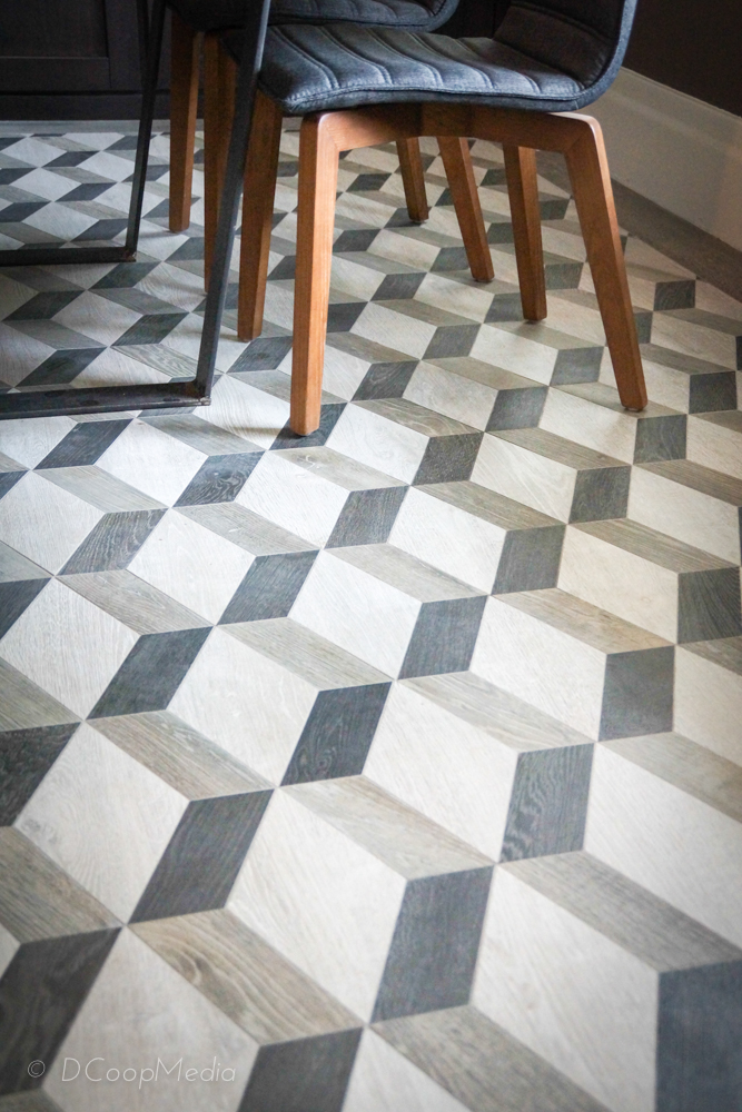 Geometric floor in the Carriage House Dining Room by G.H. Wood Design.