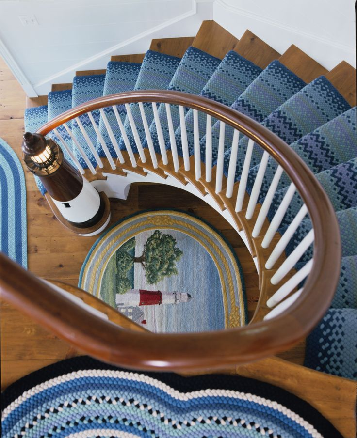 Lighthouse shaped newel by Paul Flammangj in a Hamptons home designed by Anthony Baratta // © anthony baratta