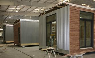 The prefabricated Lake|Flato Porch House under construction | Image courtesy Lake|Flato Architects