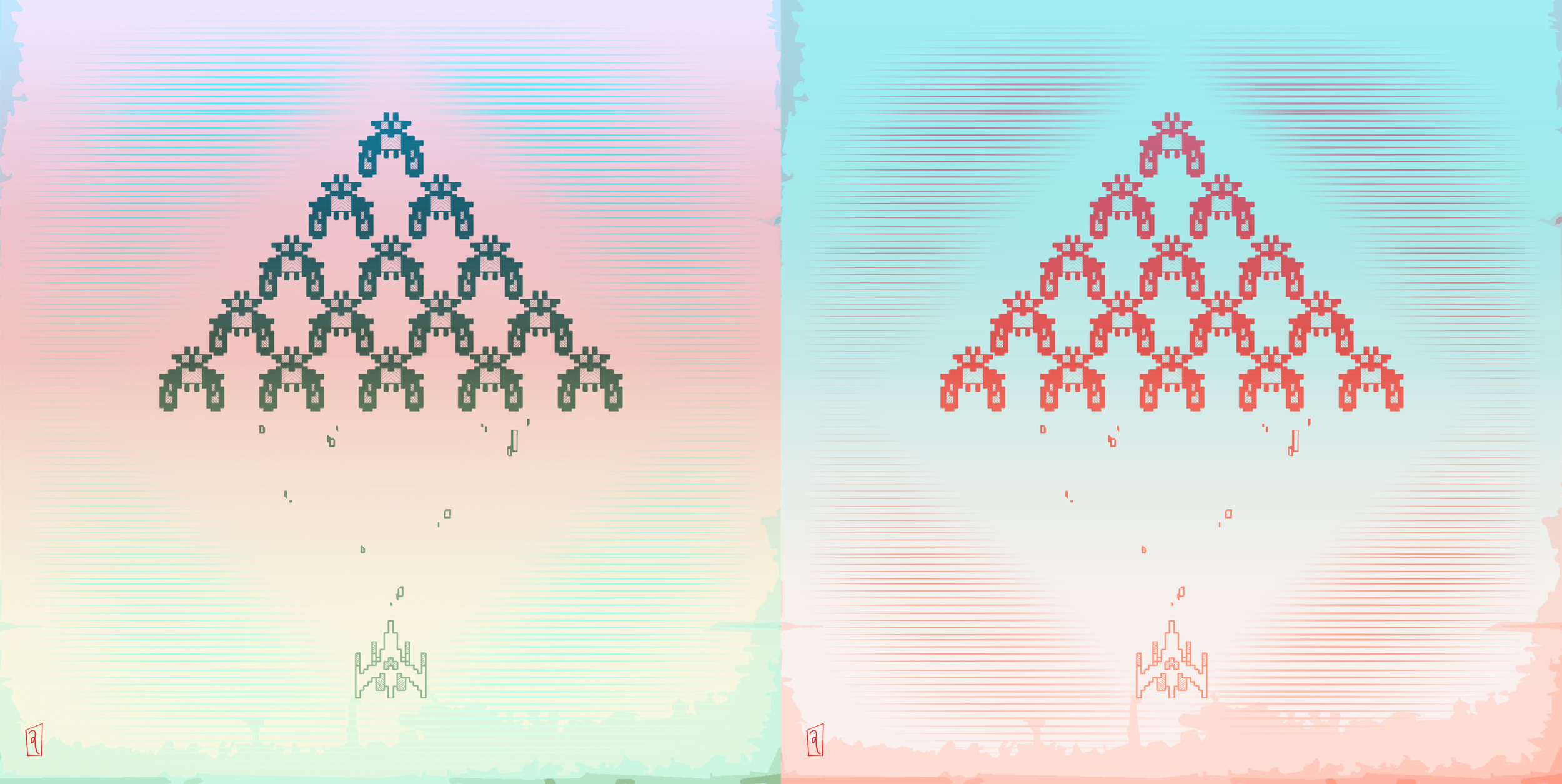 """Galagescher , inspired by MC Escher. Although I like Craig's title more: """"Galaga Vice."""""""