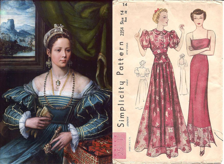 Portrait of a Lady by Peter de Kempeneer 1527-1537 versus 1930s Simplicity patterns, sold in the US