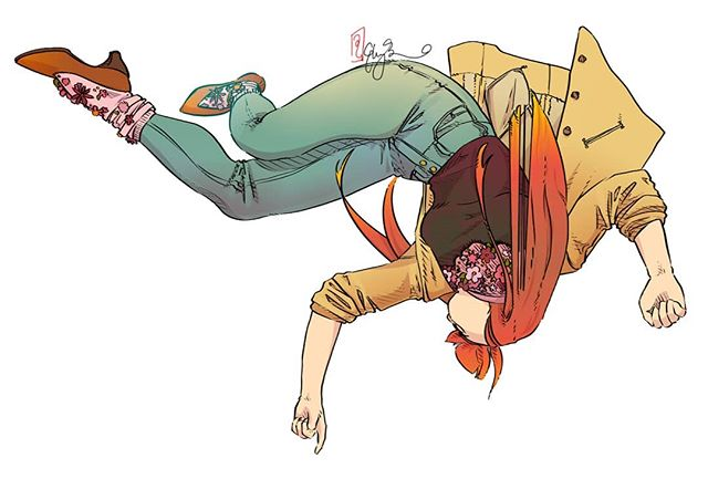 Author illustrations for Talking Threads, being published later this year with @designstudiopress! I decided to do falling, dreaming poses in clothing that represents our work in subtle ways. Jessie Kate Bui is our fearless leader with the most infectious laugh you've ever heard. She is most inspired by nature, and focuses her creative costume juices on character psychology and story arc. . . . . . #TalkingThreadsBook @strawberrywhim #costumedesign #costumeconceptart #illo #fashion #olivegreen #mustardyellow #envywear #instaart #photoshop #entertainmentdesign #conceptartist #portrait #falling #anatomy #redhead #designer
