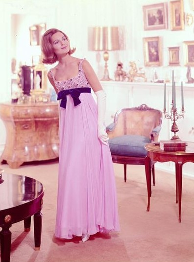 Hannah Troy's Schiaparelli pink evening gown is an uncanny likeness to the round gowns of the 1810s.