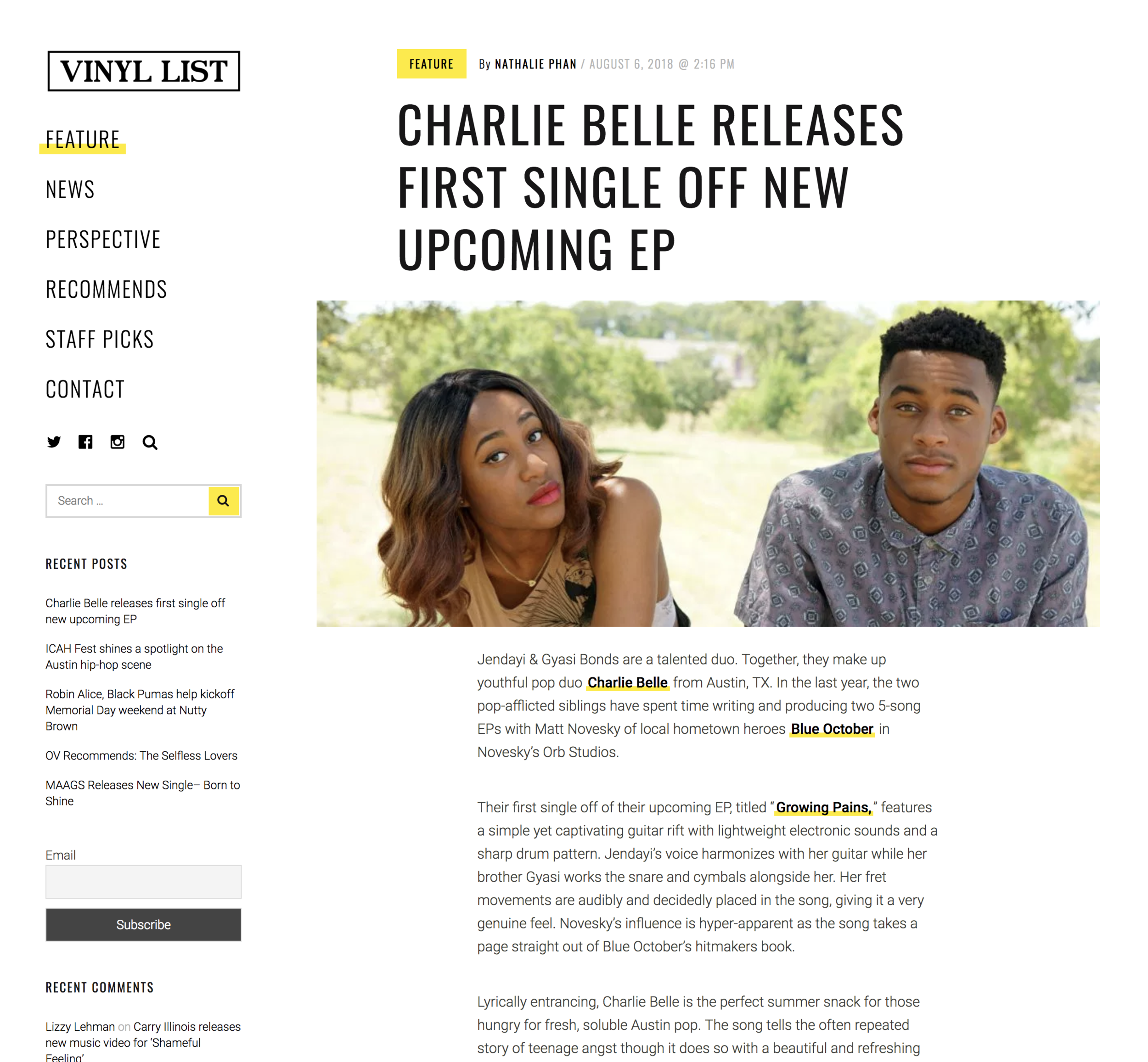 More Press — Charlie Belle