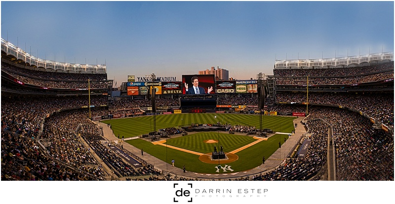 Composite of 4 images.  I'm certainly not a Photoshop wizard but this definitely gives the full scope of a sold-out Yankee Stadium.