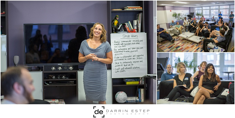 Debbie Madden, CEO (left), Company meeting space (right, top), Striders engaged in dialog (right, bottom)