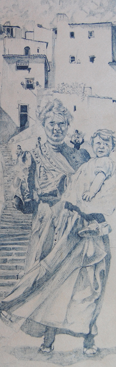 Woman and Baby in Argentina. Bic pen. 1978