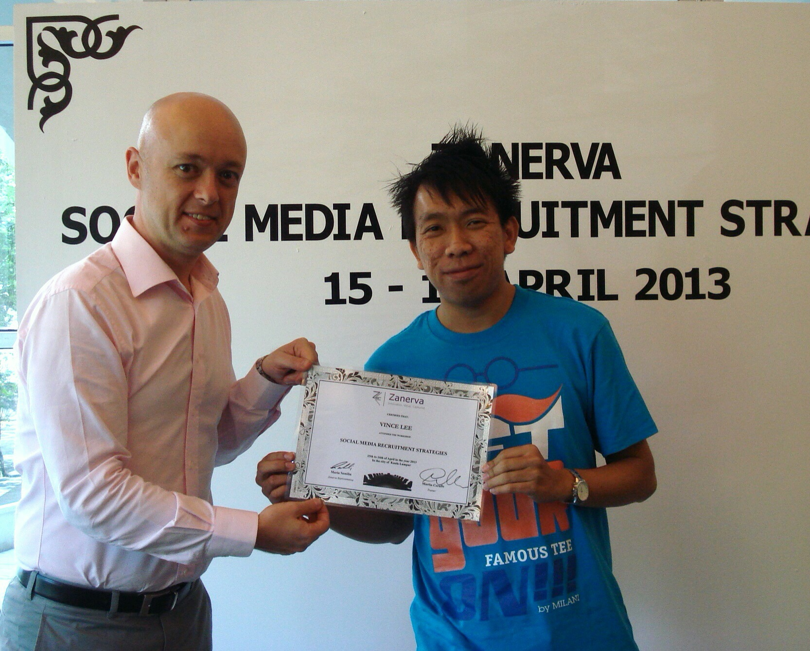 Vince Lee, Human Resource Executive at Boon Siew Honda Sdn Bhd  receiving his certificate of participation for attending the Social Media Recruitment Strategies Workshop in Kuala Lumpur