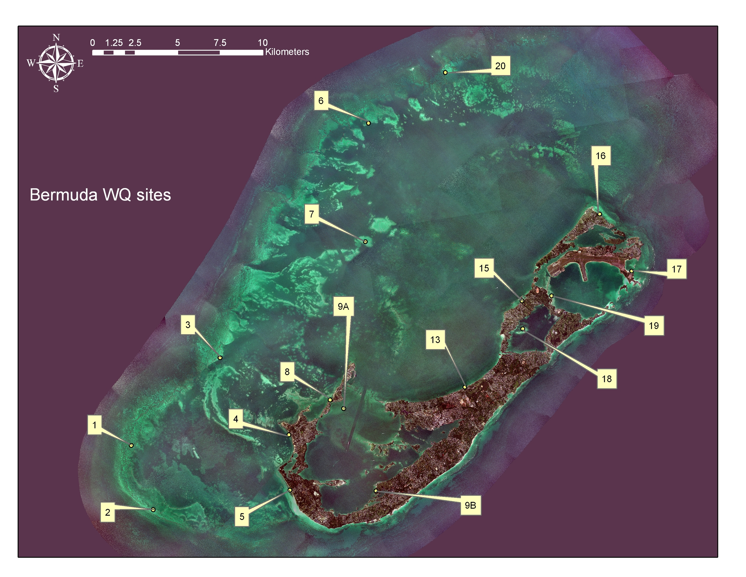 Water quality and seagrass monitoring sites