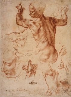 Studies for the Libyan Sibyl by  Michelangelo (1510/11)