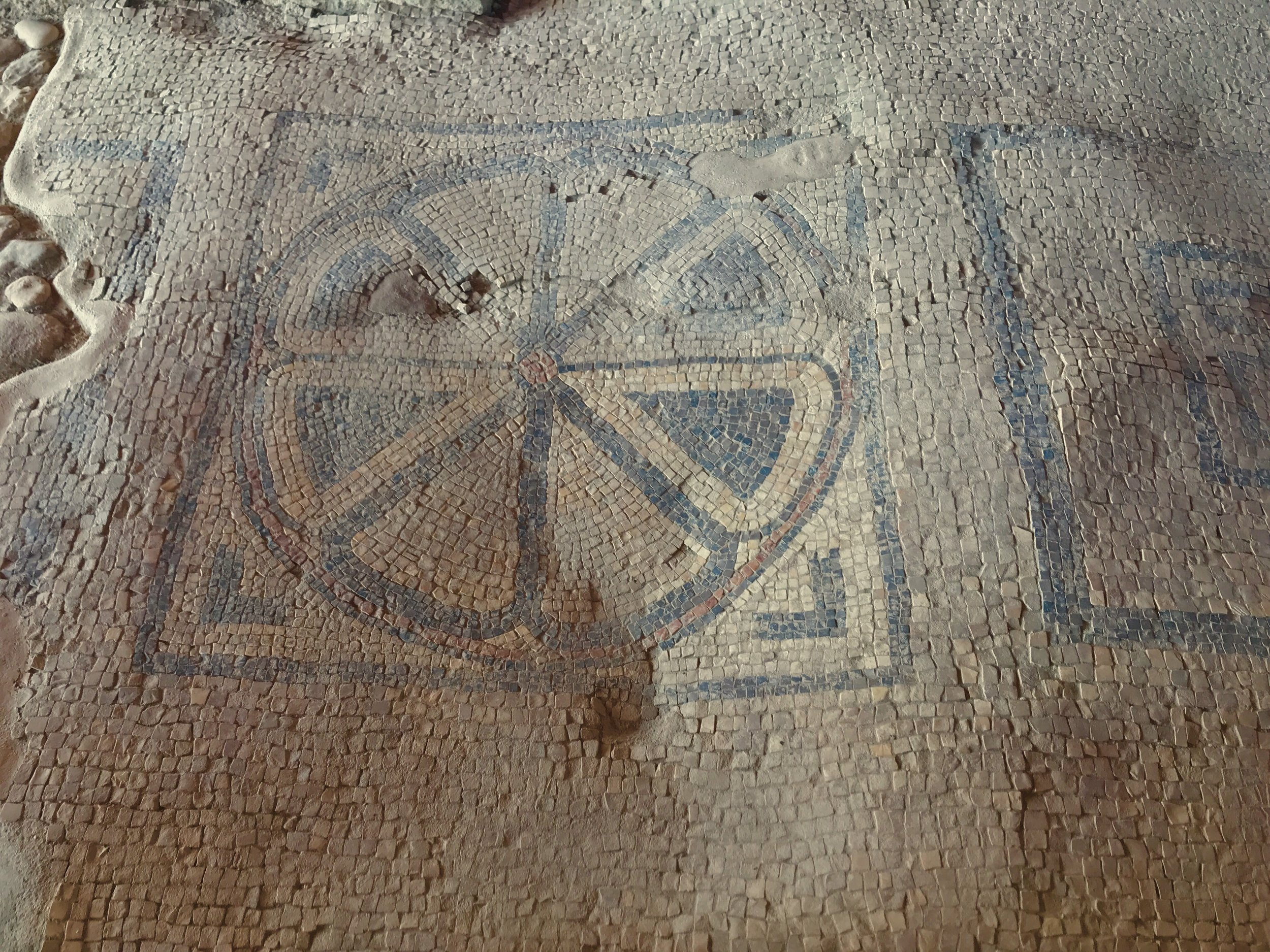 First century mosaic floor at synagogue in Magdala.