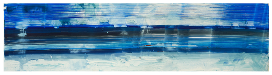 "For G.O. Lake Georgia, 2014, Ink on yupo paper, 20""x64"""