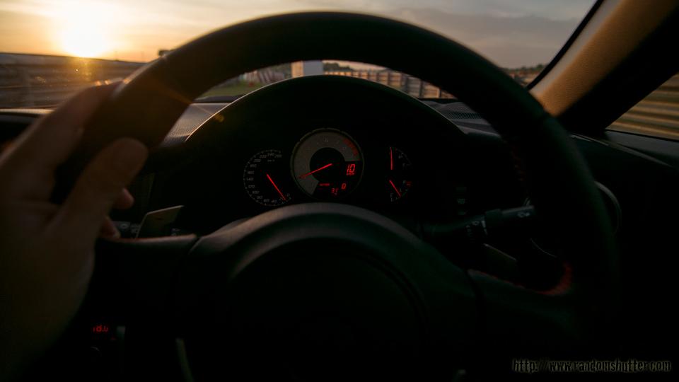 Sun was setting, as we cruised along slowly toward the paddocks using the back roads.
