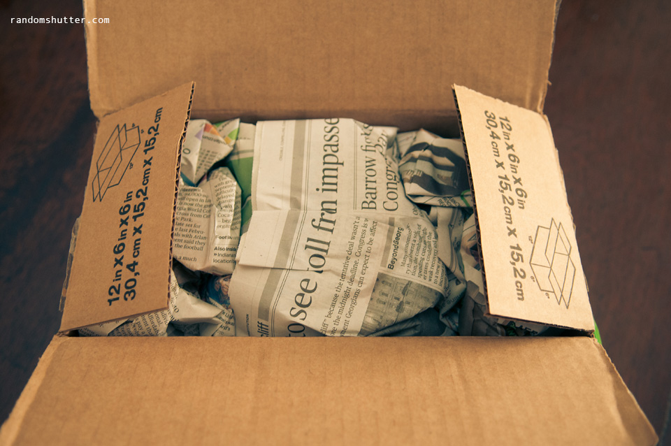 Seems to be very well padded with American newspaper.