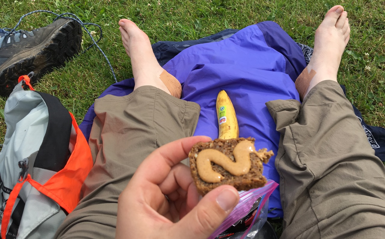 Peanut butter on dense brown bread with a (slightly battered) banana...yum.