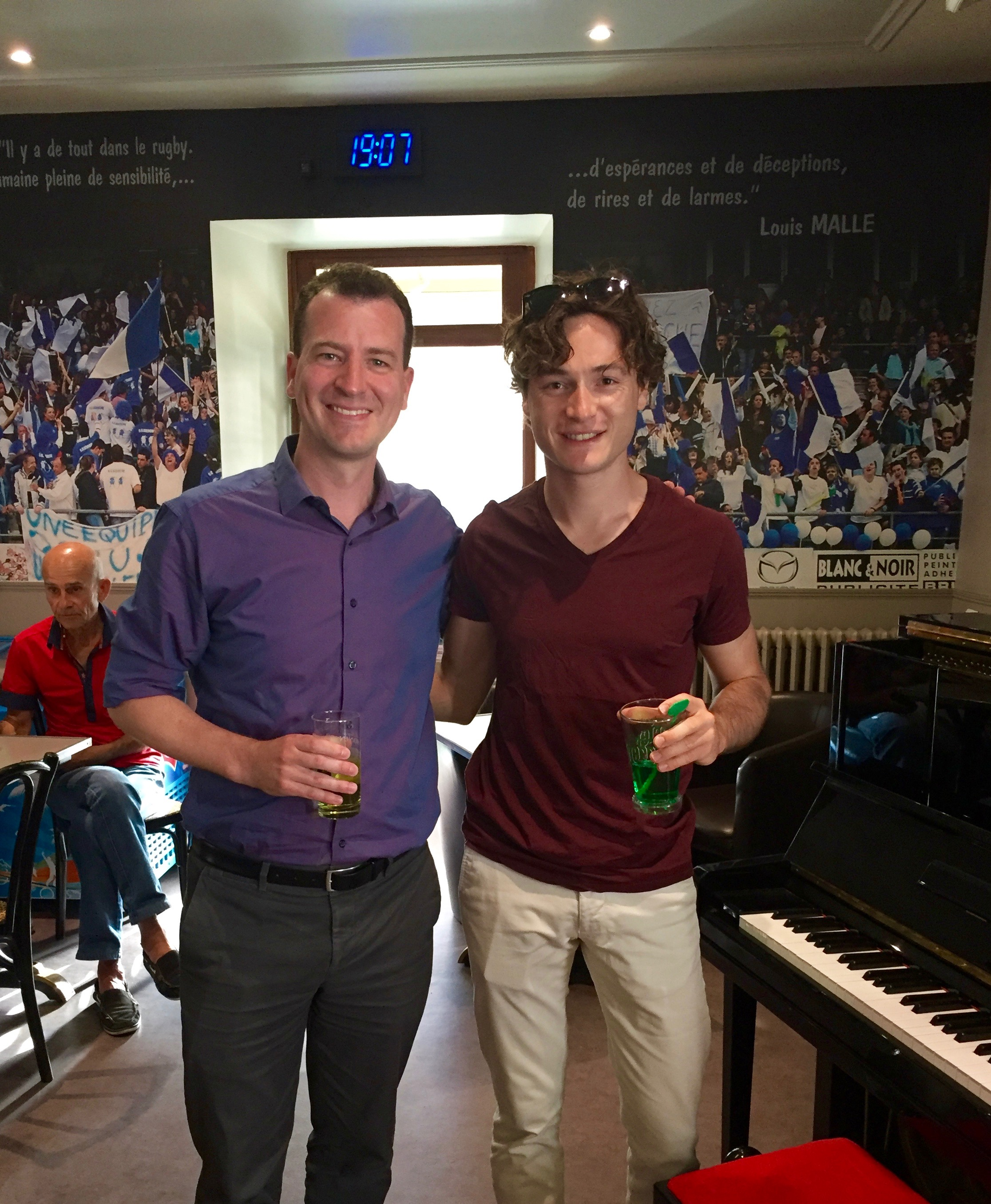"with pianist Thomas Enhco after our ""Apero Broadway"" concert in Uzerche, France, 2016"