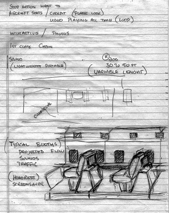 The original sketch by Michael Roames done at the planning meeting. He said it was the only time in his career that he was given full discretion to follow his creative impulses.
