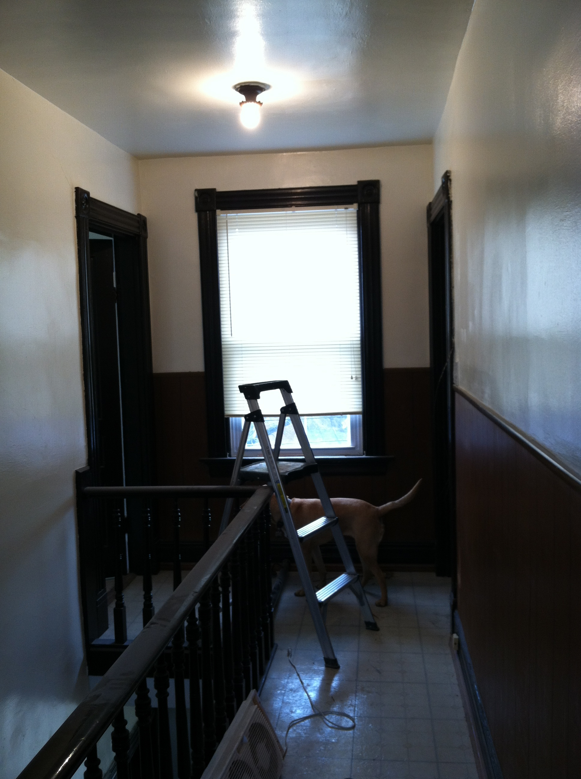 This is the opposite end of the hallway. Kitchen on the left and bedroom and living room on the right.