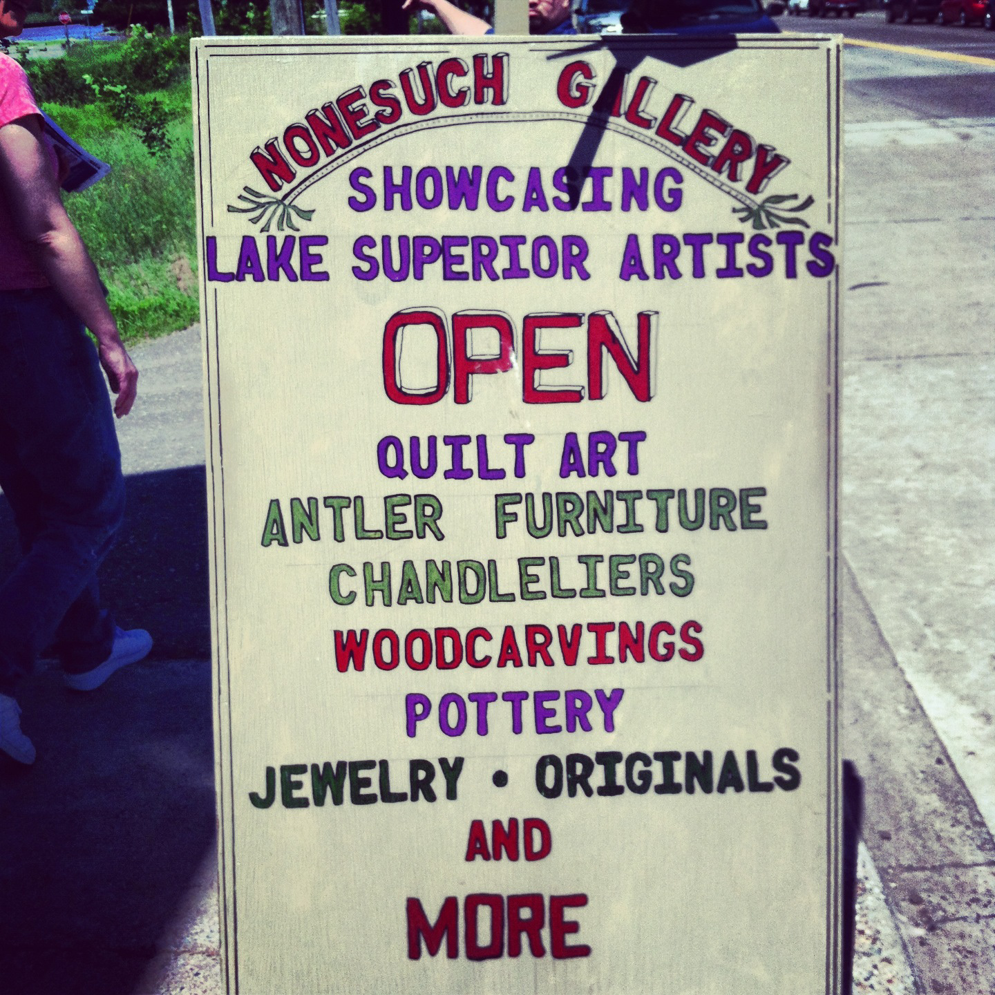 Hand painted sign right outside the Nonesuch shop. Nice work!