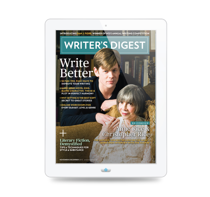 Writer's Digest Magazine, November/December 2013 cover.