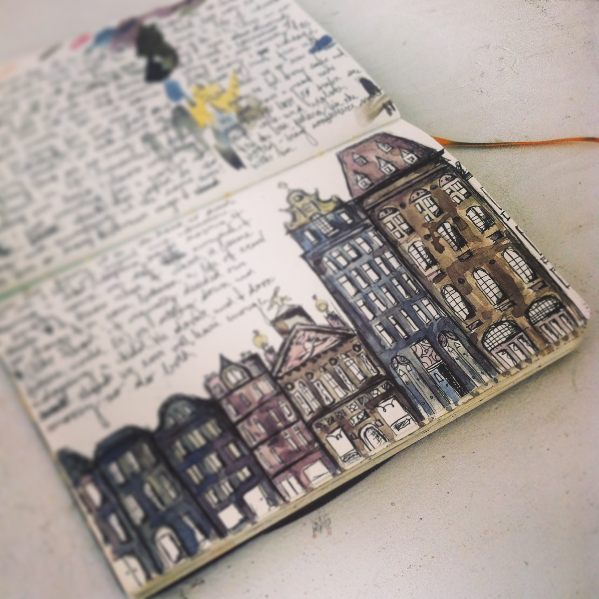This one is an old sketch with new color. The streets of Amsterdam.