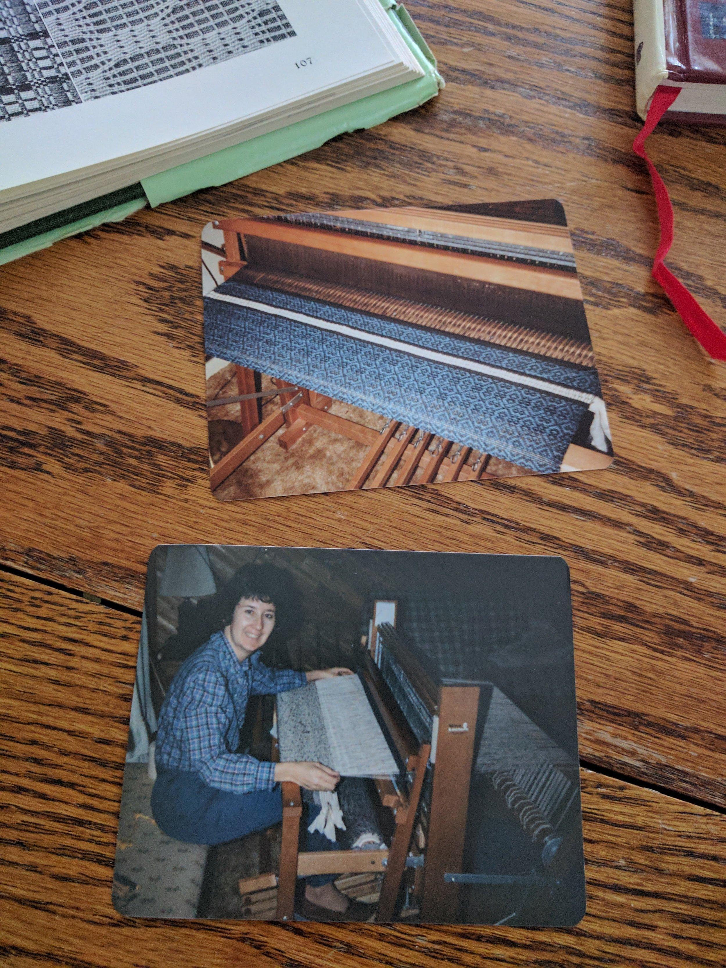 "A few photos from the 80s that Mom had tucked inside ""A Handweaver's Pattern Book."""