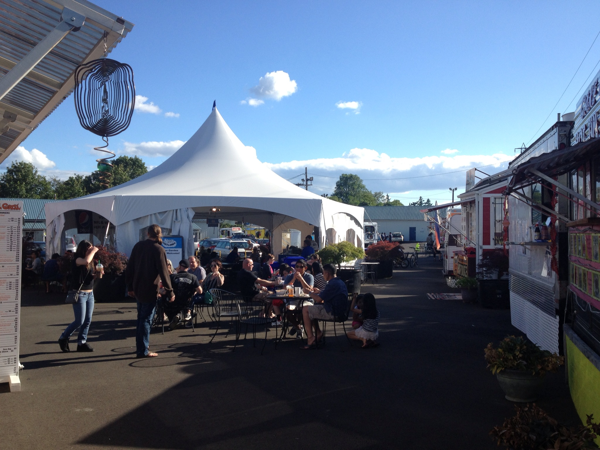 The big tent with family friendly beer garden