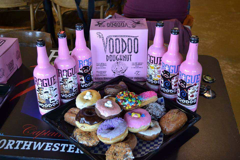 Free Voodoo Doughnuts to the first 24 people to come .  You can purchase Rogue Voodoo ale at the beer Garden