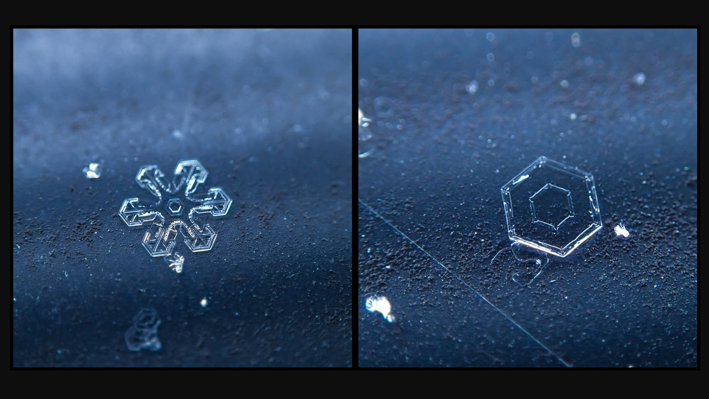 Single snowflakes are incredible at this level. Countless numbers on my car are not as wonderful.