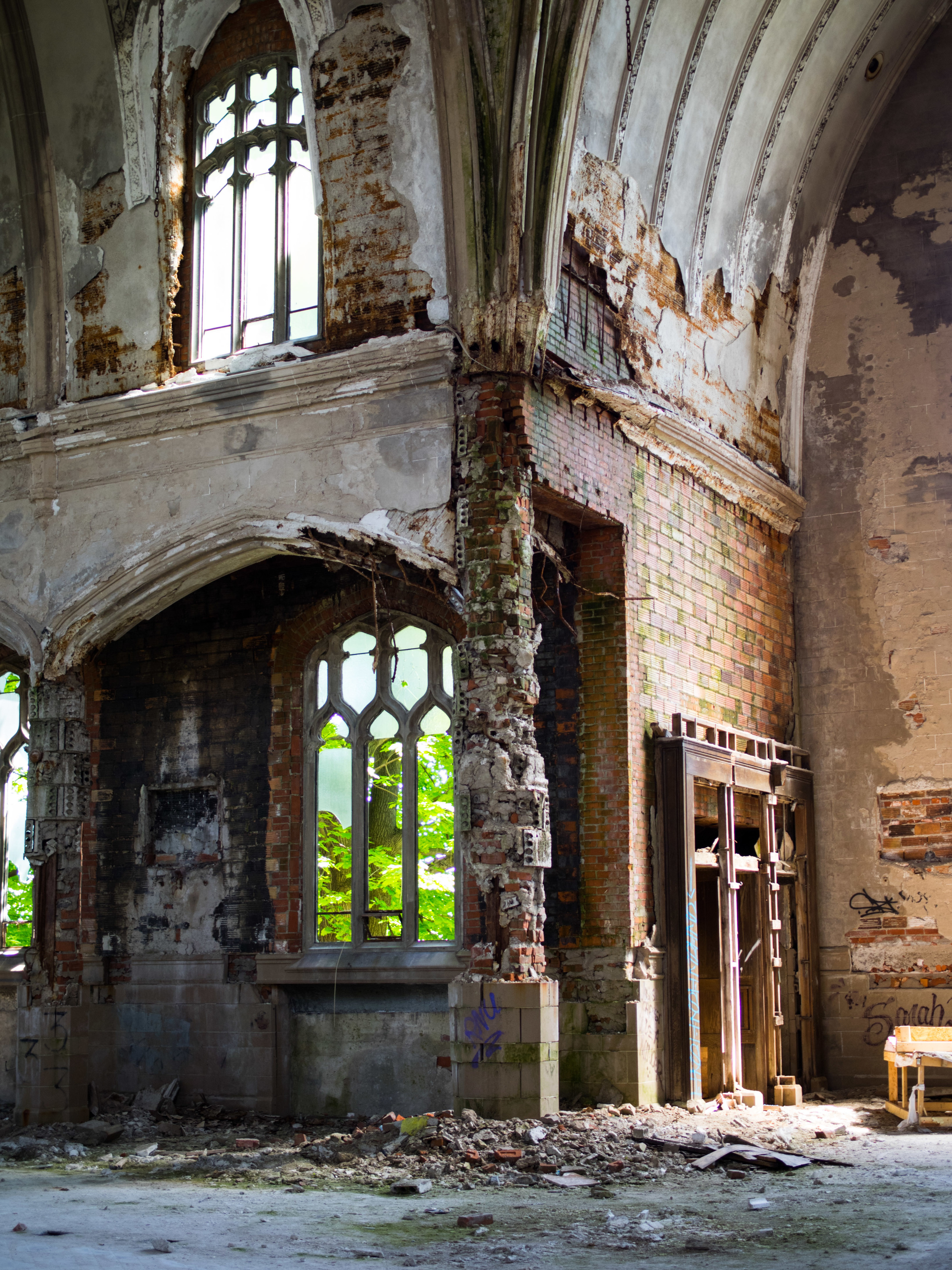 The supporting columns at St. Agnes are crumbling to the point where the building will collapse upon itself leaving only memories of its once great presence.