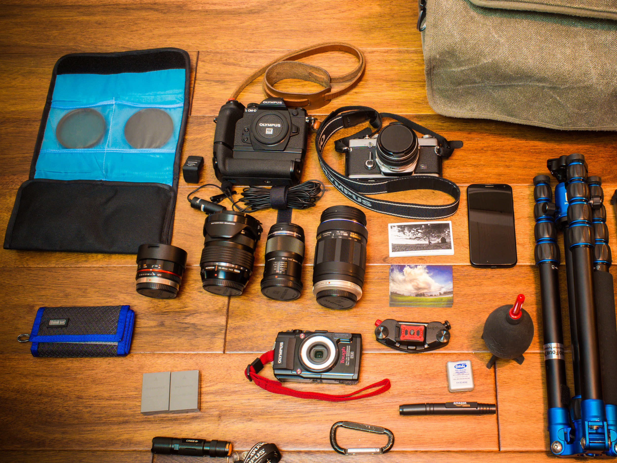 Typical of what I would carry when out in the woods shooting wildlife and maybe landscapes.