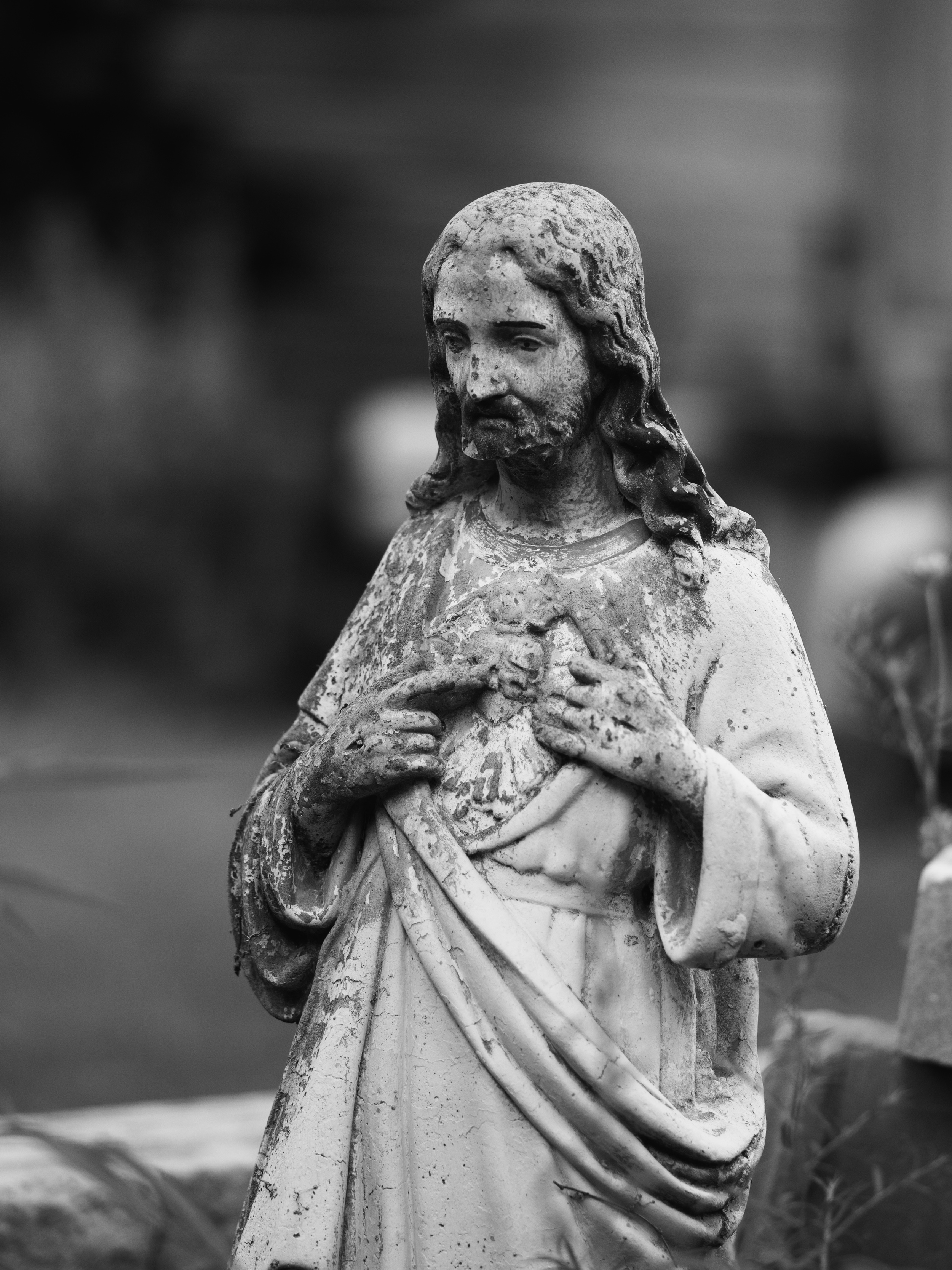 I love shooting cemetery statuary in B&W :)