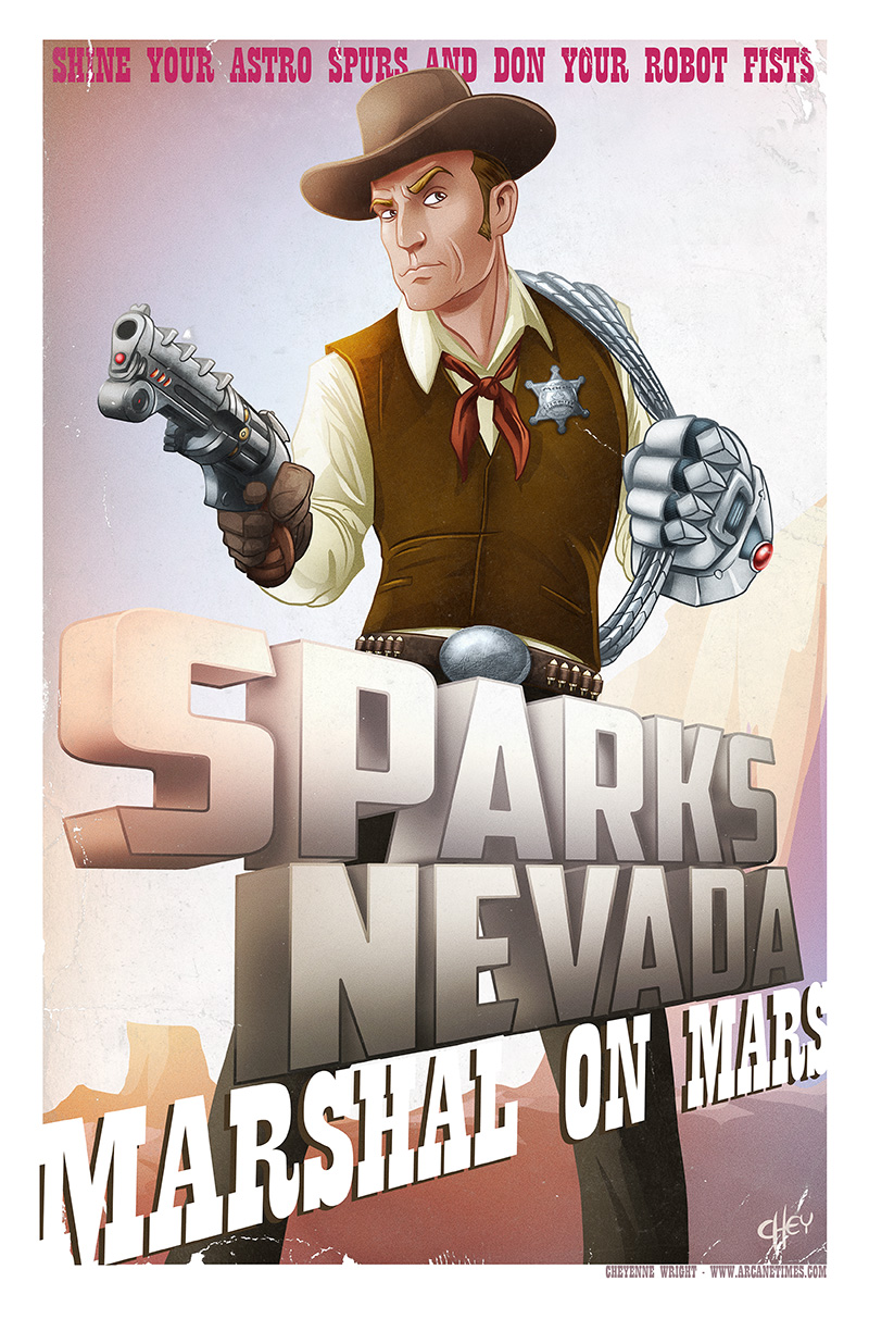 A few little touches that I'm happy about. Sparks buckle is a map of the Edgar Rice Burroughs surface of Mars and in place of his bullets are radio tubes - Sparks gun is a laser pistol and I picture it using the tubes like charging chambers -- when one burns out, he has backups - also  radio.