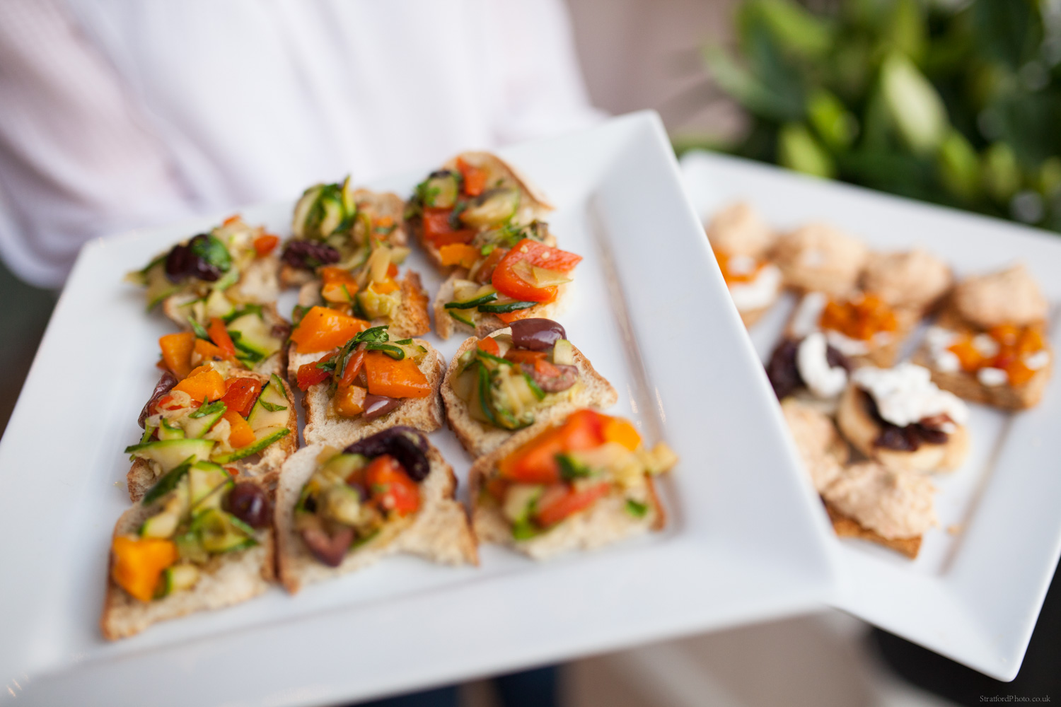 Fine vegan hors d'oeuvres on a white plate at blue orchid hoylake 3