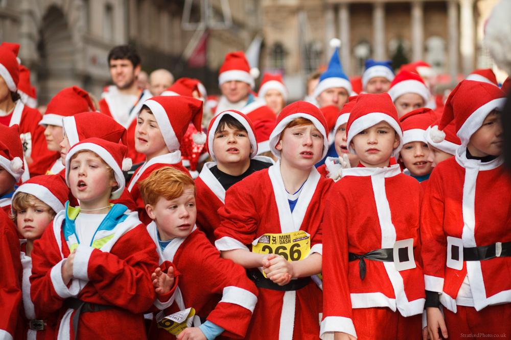 Young runners prepare to run the 2014 BTR Santa Dash in Liverpool