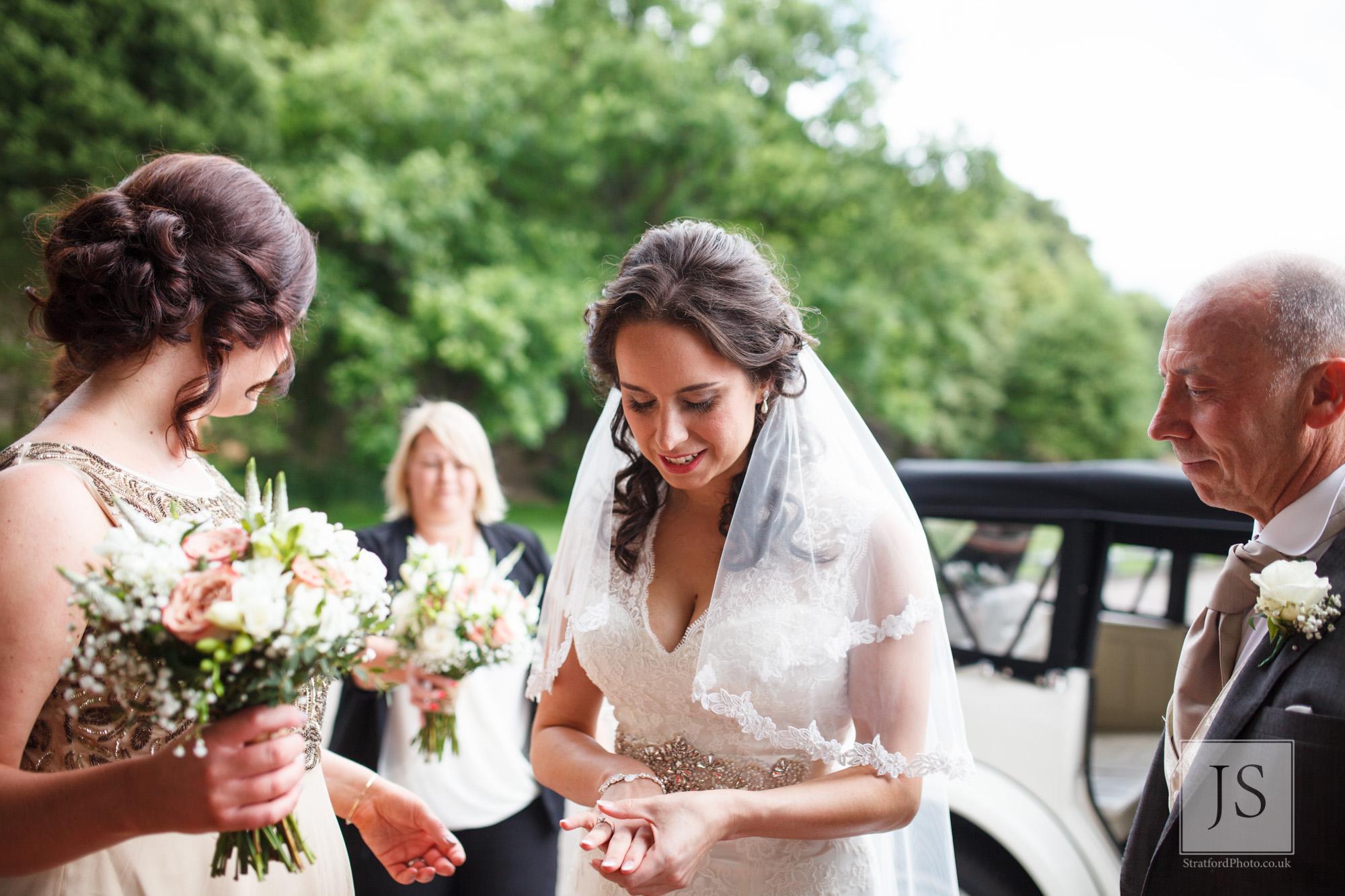 A nervous bride enters Haigh Hall.jpg