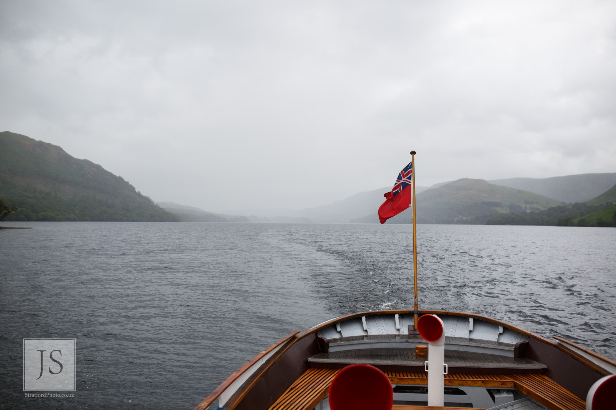 The view out over the stern of a Lake Ullswater steamer boat.jpg