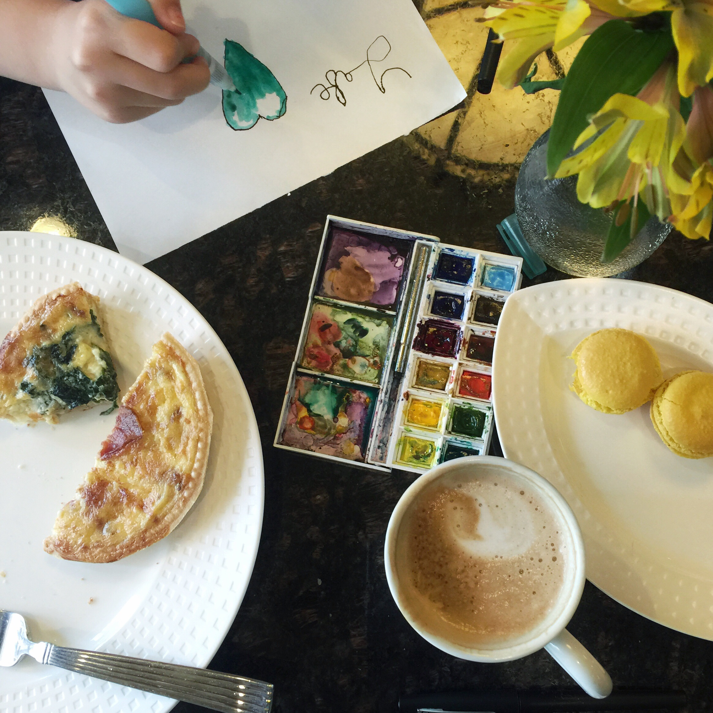 Coffee, breakfast, and art with a granddaughter....perfection.