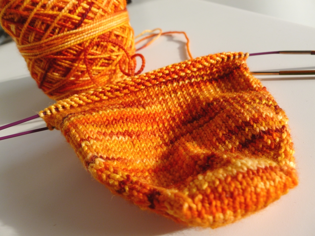 The beginnings of a knee sock.