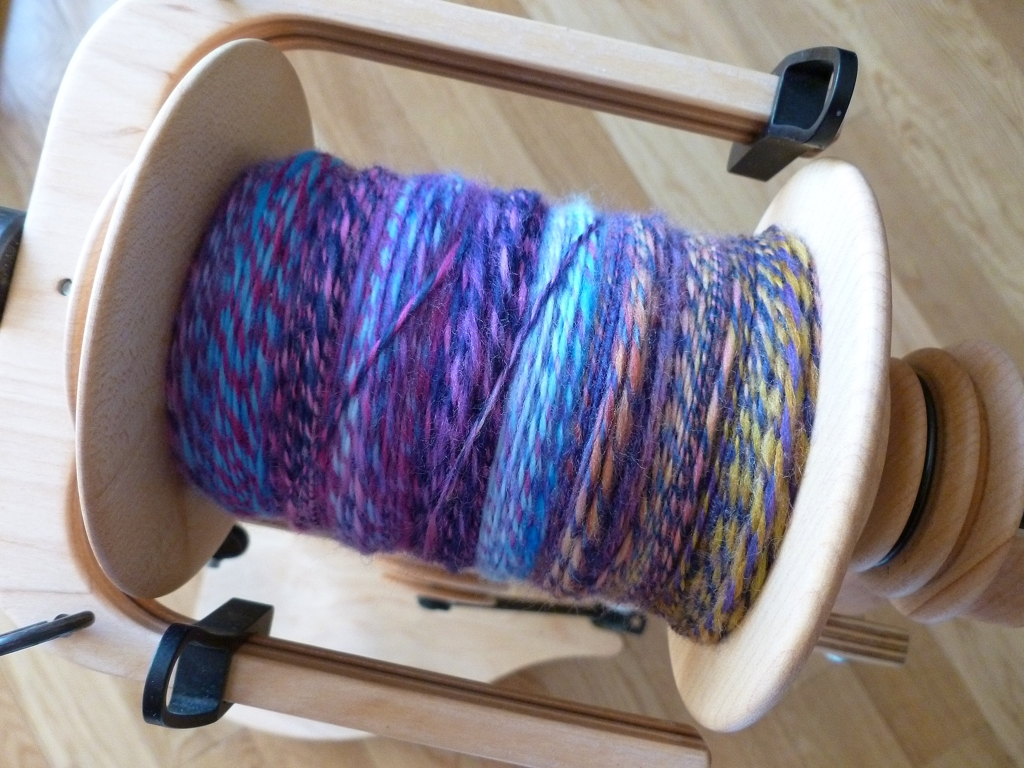 Finally finished plying my Spun Right Round  Olivia  singles. Looking forward to getting the yarn off the bobbin and into a bath.