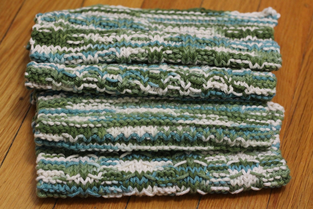 Washcloths are a tried and true gift. Plus, they're a quick knit so you can make a bunch before you get bored.| FO: Non-Felted Slippers and Practical Washcloths - withwool.com